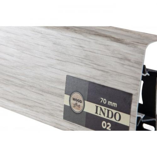 Пластиковый плинтус Indo (Индо) LM-70 Ясень палёный 02
