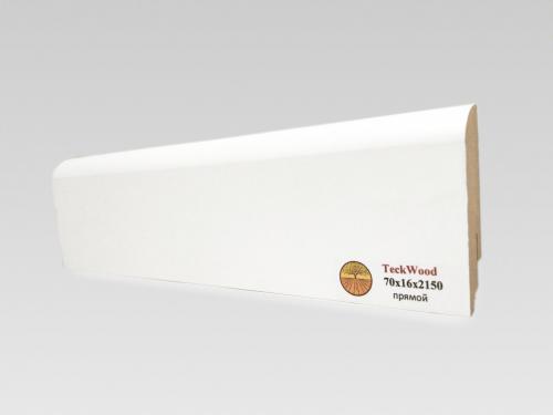 Плинтус МДФ Teckwood (Теквуд) Белый прямой (высота 70 мм)
