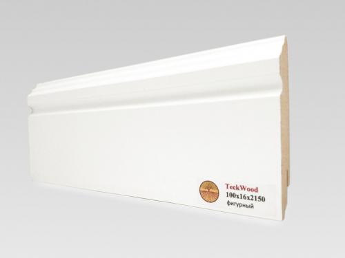 Плинтус МДФ Teckwood (Теквуд) Белый фигурный (высота 100 мм)