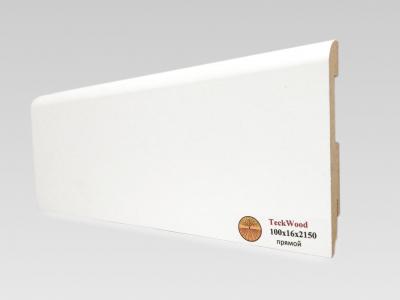 Плинтус МДФ Teckwood (Теквуд) Белый прямой (высота 100 мм)