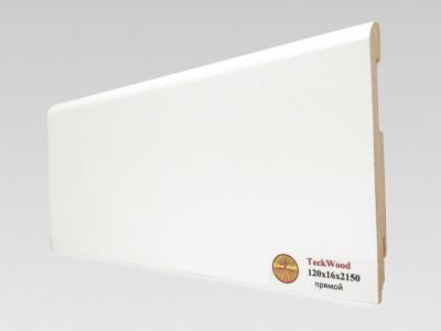 Плинтус МДФ Teckwood (Теквуд) Белый прямой (высота 120 мм)