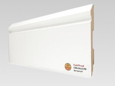 Плинтус МДФ Teckwood (Теквуд) Белый фигурный (высота 120 мм)