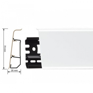 Пластиковый плинтус Indo (Индо) LM-70 Белый блеск 01